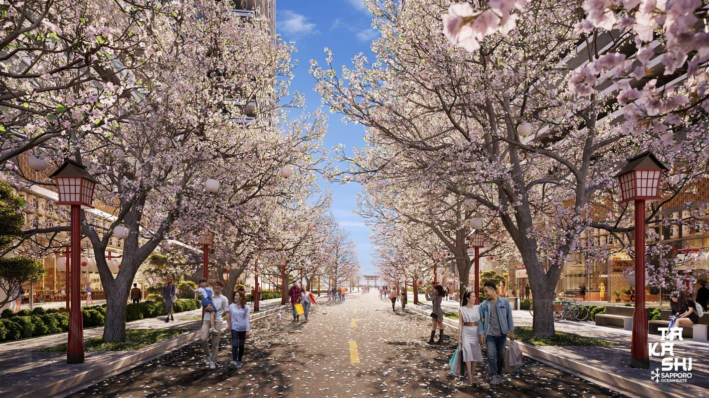 Phối cảnh đường hoa đào