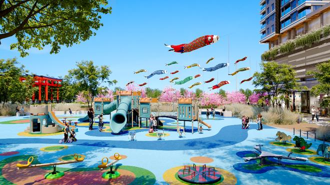 Công viên Sasuke là nơi để trẻ em thỏa thích khám phá thiên nhiên giữa bốn bề xanh mát.