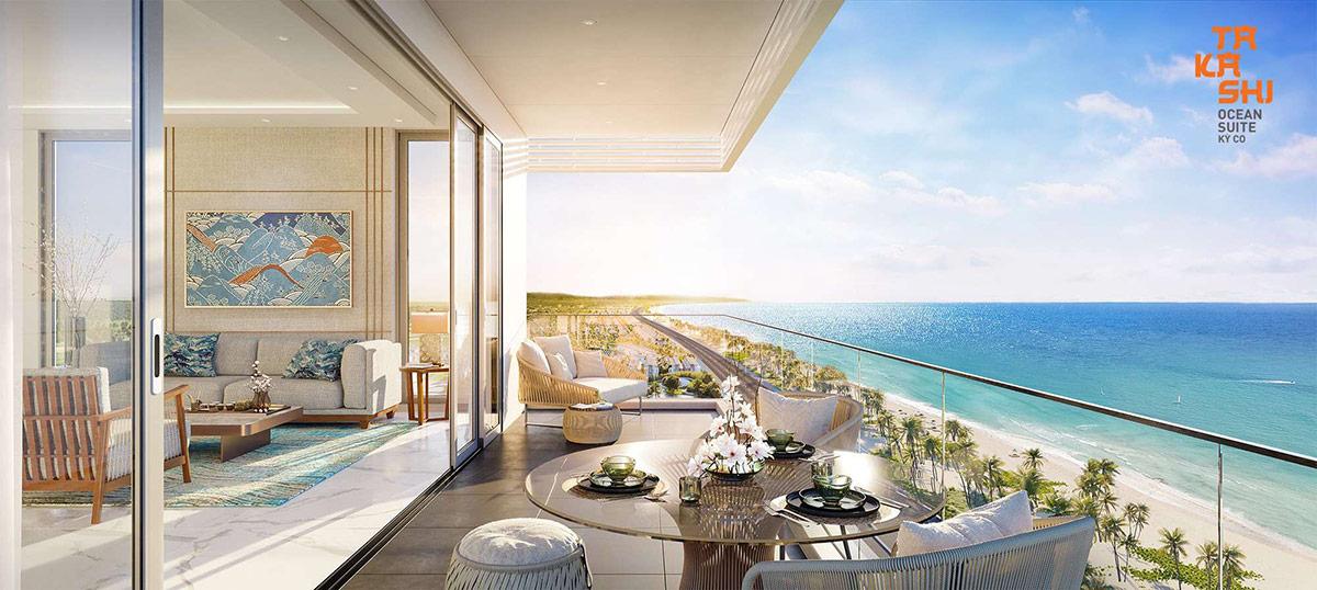 View biển ấn tượng từ căn hộ của Takashi Ocean Suite Kỳ Co. Ảnh: Tập đoàn Danh Khôi.